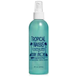 Tropical Waters Fragrance-Free and Unscented Cooling Spray and Facial Mist, 8oz Long Lasting, Hydrating, Face Mist, Full Body Cooling, Cosmetic Finishing Spray, Alcohol Free (Unscented)