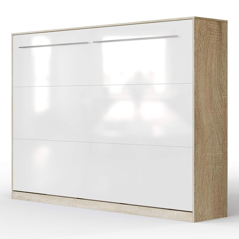 SMARTBett Standard 90x200 Vertikal Weißs Schrankbett   ausklappbares Wandbett, ideal geeignet als Wandklappbett fürs Gästezimmer, Büro, Wohnzimmer, Schlafzimmer Eiche Sonoma Weißs Hochglanzfront 140 Horizontal