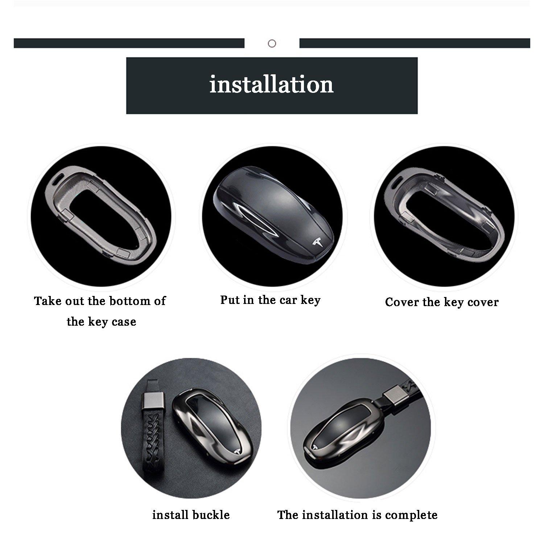FancyAuto Aluminum Alloy Key Cover for TESLA Model S Romote Key Flip Ket Protection Case Dark blue+Buckle