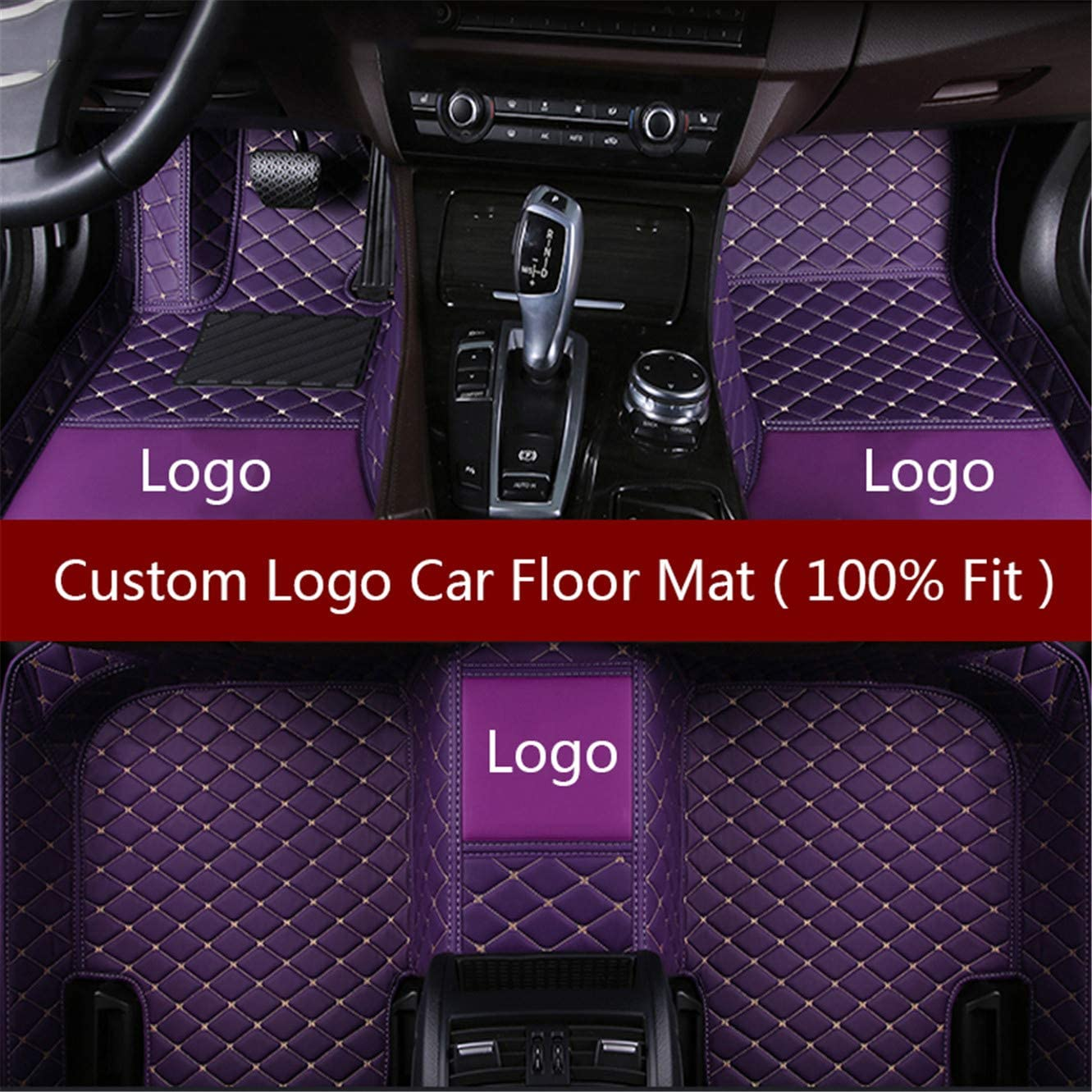 Car Floor Mats for Chevrolet Silverado 2014-2017 Custom Leather mat Full Surrounded Cargo Liner All Weather Protection Waterpoof Non-Slip Set Left Drive Black and Red