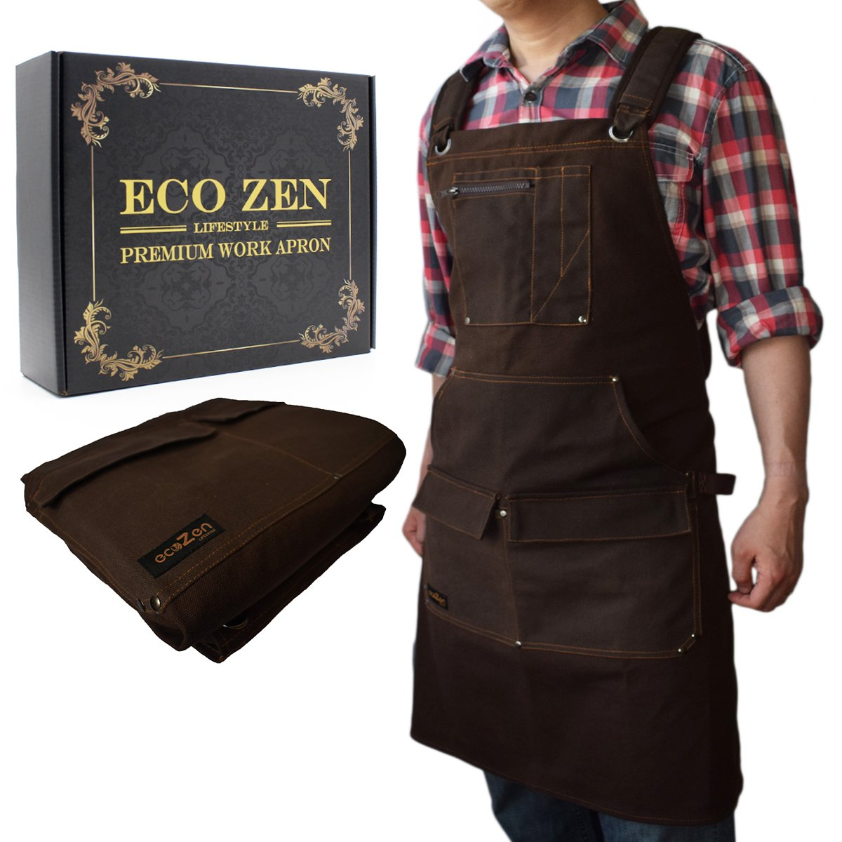 Shop Apron - Waxed Canvas Work Apron with Pockets | Waterproof, Fully Adjustable to Comfortably Fit Men and Women Size S to XXL | Tough Tool Apron to Give Protection and Last a Lifetime by ecoZen Lifestyle
