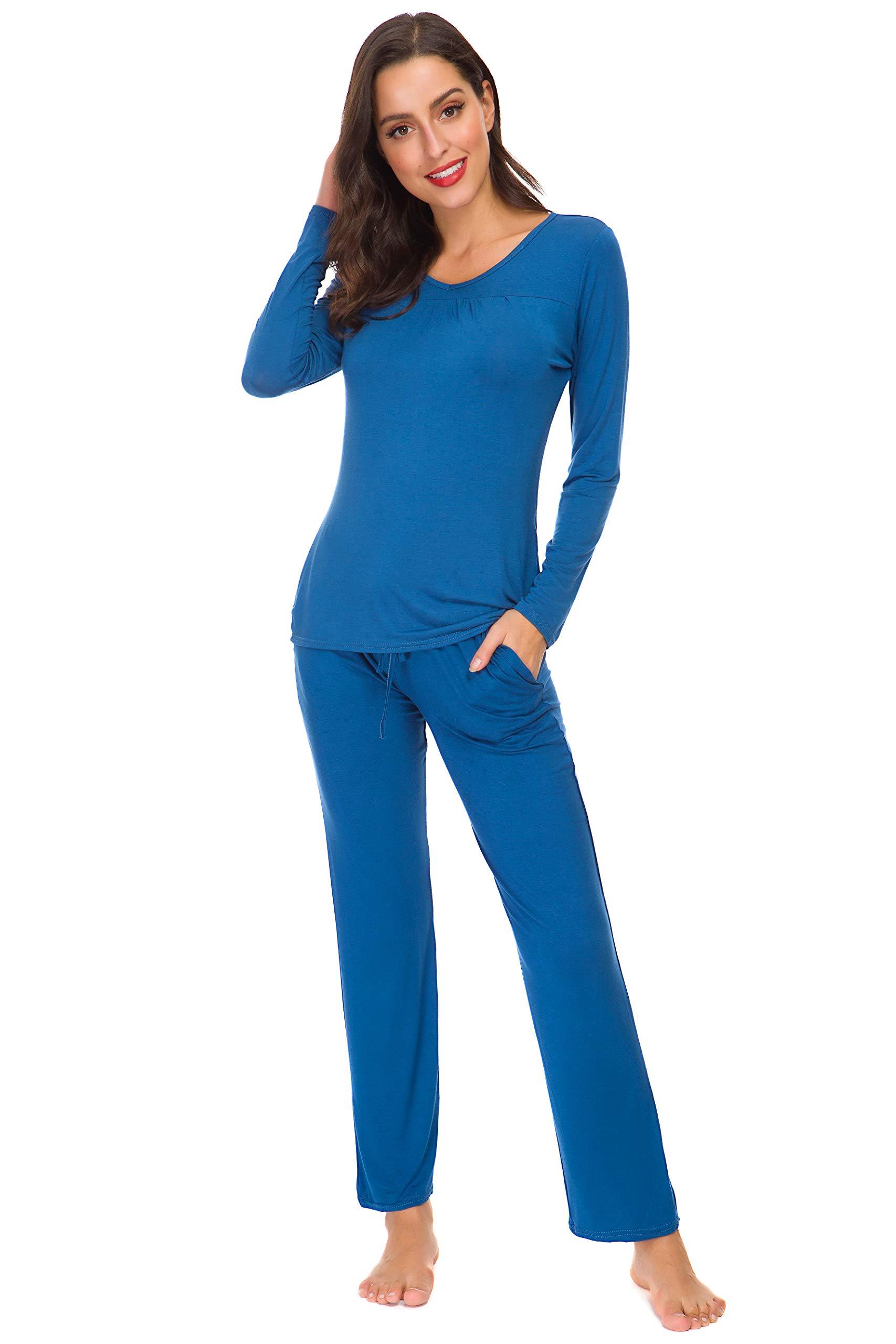 ARBLOVE Pijama Mujer Invierno Algodon 2 Piezas,Suave Cómodo Suelto y Agradable