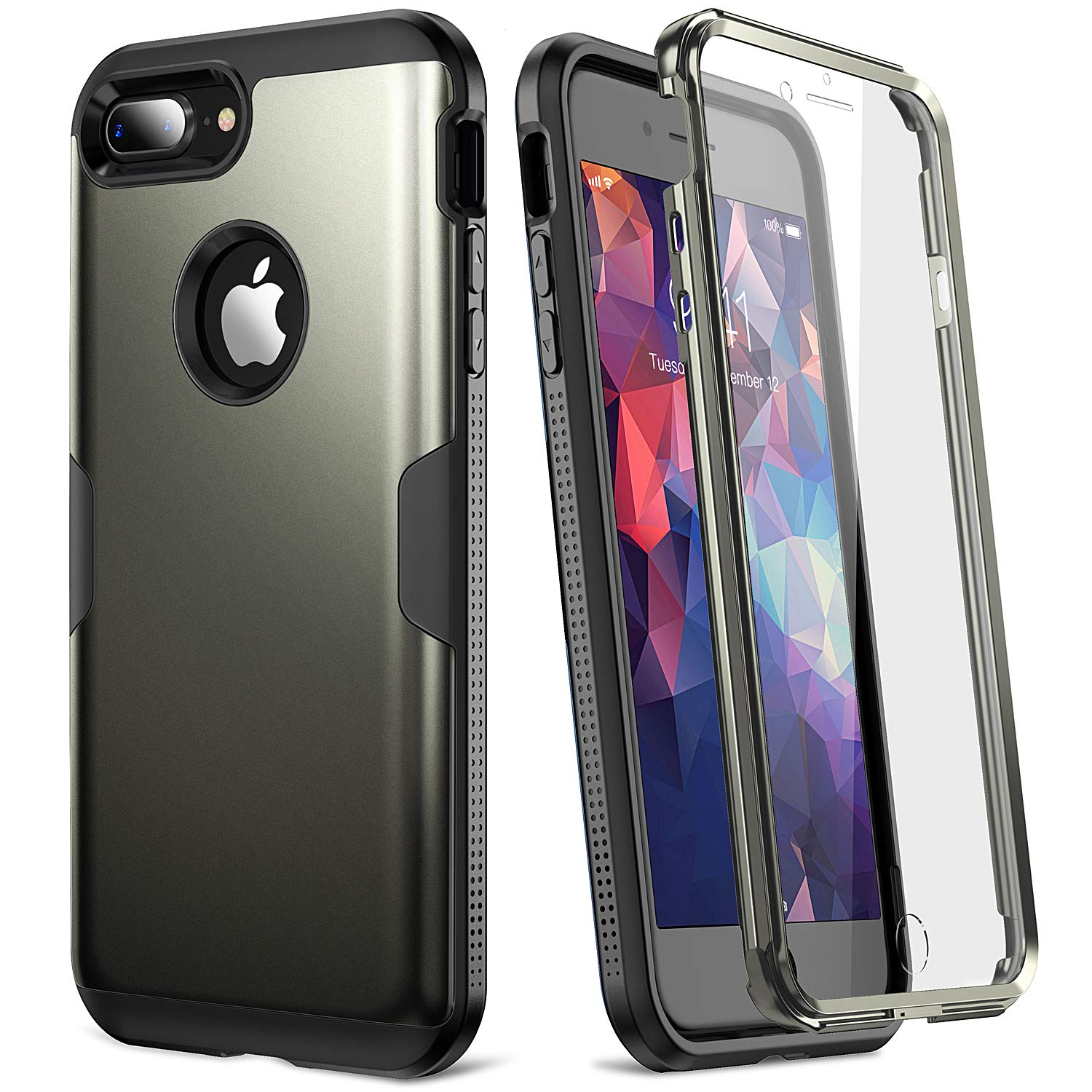 Full Body Rugged with Built-in Screen Protector Heavy Duty Protection Slim Fit Shockproof Cover for Apple iPhone 8 Plus YOUMAKER Case for iPhone 8 Plus /& iPhone 7 Plus 2017 5.5 Inch Black
