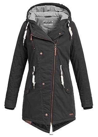 Hailys Damen Jacke Winter Jacke Parka mit Kapuze Zipper seitlich Kordelzug 2 Taschen & 1 Zip Tasche schwarz