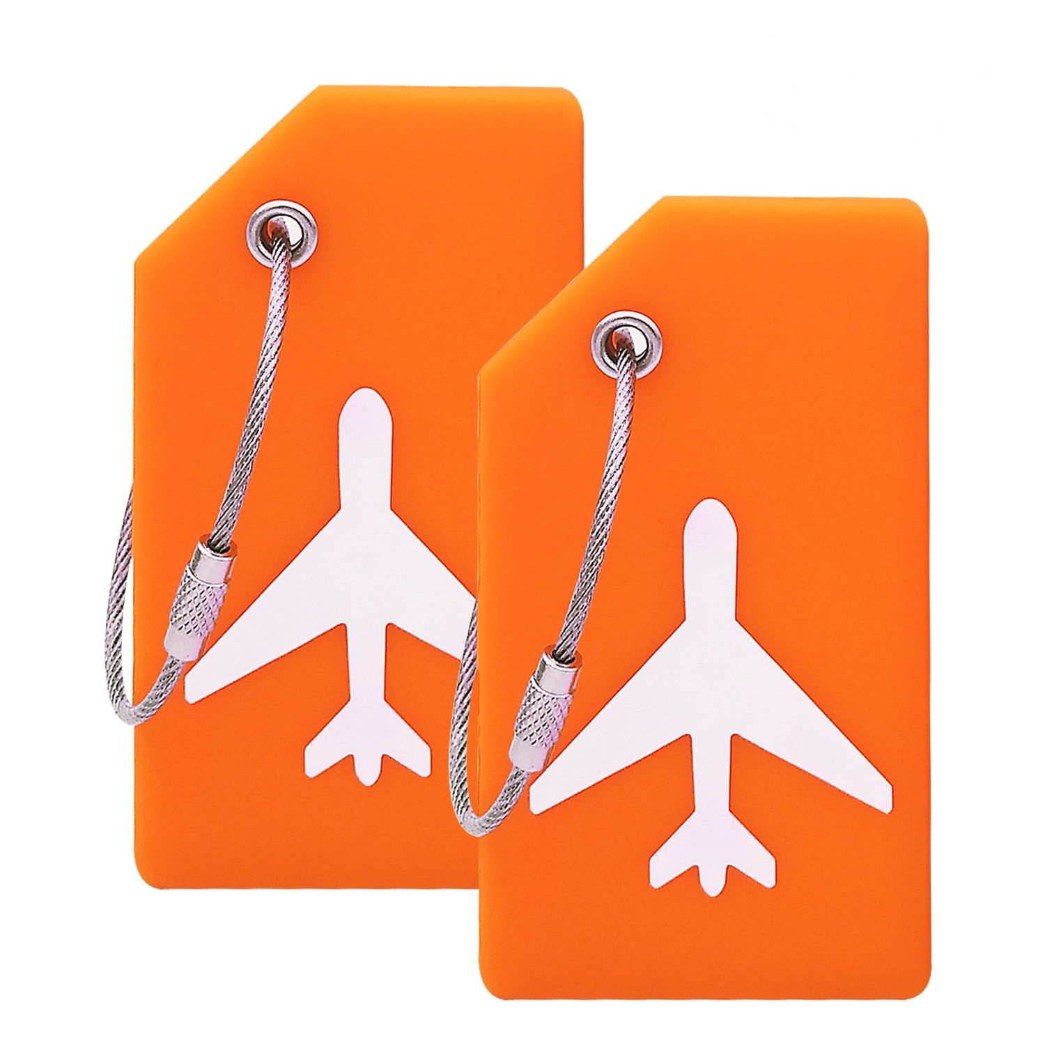 Silicone Luggage Tag With Name ID Card Perfect to Quickly Spot Luggage Suitcase (Plane 2Pcs Orange) by Ovener (Image #1)