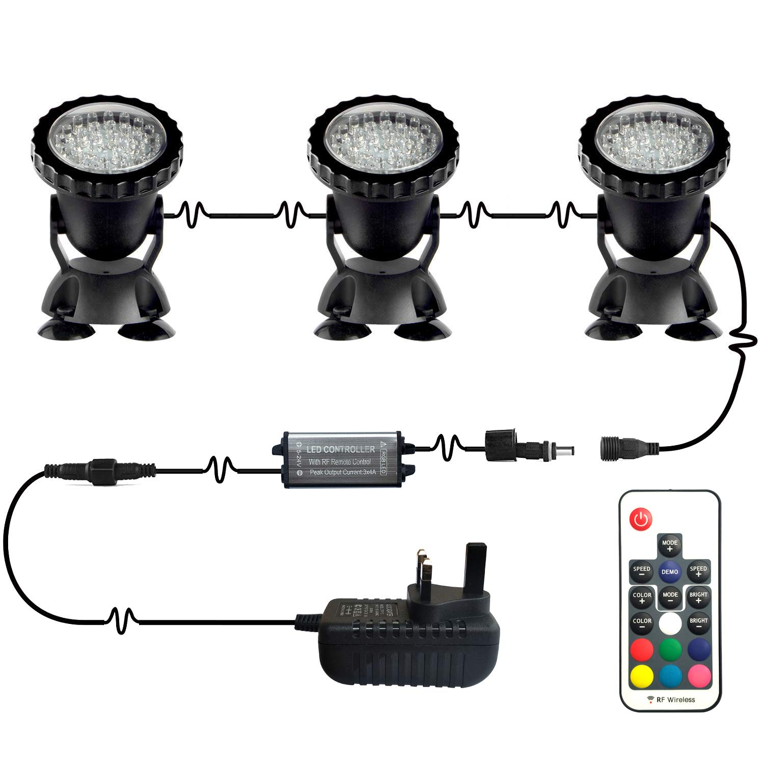 d9e0cfc994c Pond Lights Upgraded Remote Control Submersible Lamp IP68 Totally Full  Waterproof Underwater Aquarium Spotlight 36-LED Multi-Color Decoration  Landscape Lamp ...