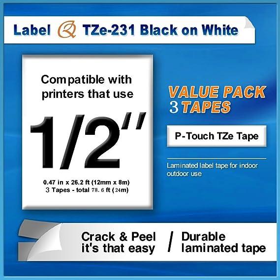 1170S 10x SCHRIFTBAND KASSETTE 12mm für BROTHER TZE-231 P-Touch 1160 1170