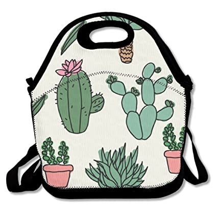 be7aba632740 Custom Cactus Doodles Pattern Reusable Ziplock Crossbody Picnic Bag Design  For Office Portable Lunch Box Cooler Back To School Lunch Bag Lunch Tote ...