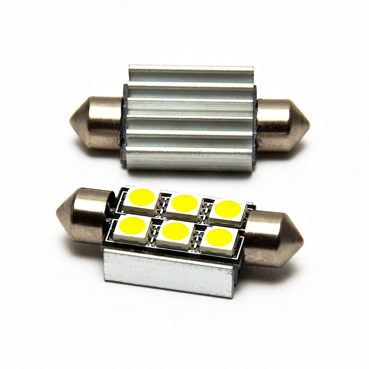 M.Tech - 2 bombillas C5W 6 SMD / LED Soffitte CanBus con resistencia (no dan error en el vehículo), color blanco: Amazon.es: Coche y moto