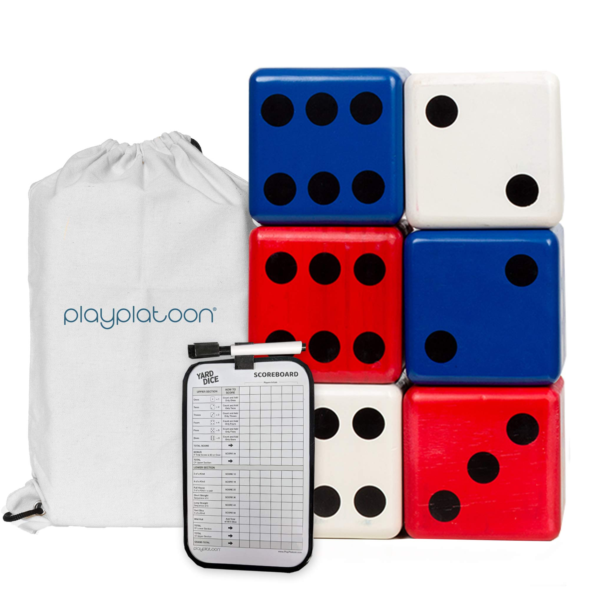 Lawn Dice with Scoreboard - Giant Red White & Blue Wooden Yard Dice Outdoor Game by Play Platoon