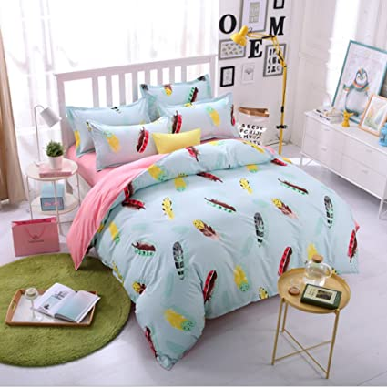 Libaoge Sky Blue 4 Piece Bed Sheets Set, Multicolored Feathers Print, 1  Flat Sheet