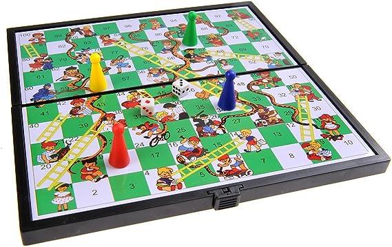 Quantum Abacus Juego de Mesa magnético (tamaño Compacto de Viaje): Serpientes y Escaleras - Piezas magnéticas, Tablero Plegable, 19cm x 19cm x 1cm, Mod. SC6610 (DE): Amazon.es: Juguetes y juegos