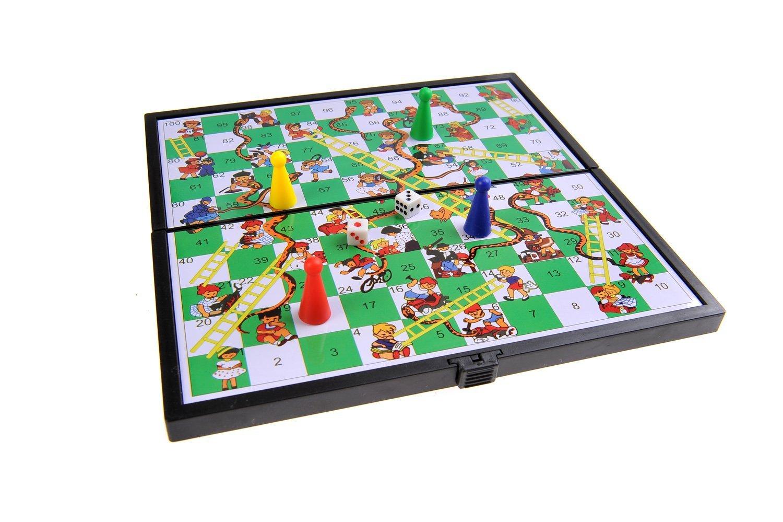 19cm x 19cm x 1cm DE Quantum Abacus Juego de Mesa magn/ético : Serpientes y Escaleras SC6610 Tablero Plegable Piezas magn/éticas Mod tama/ño Compacto de Viaje