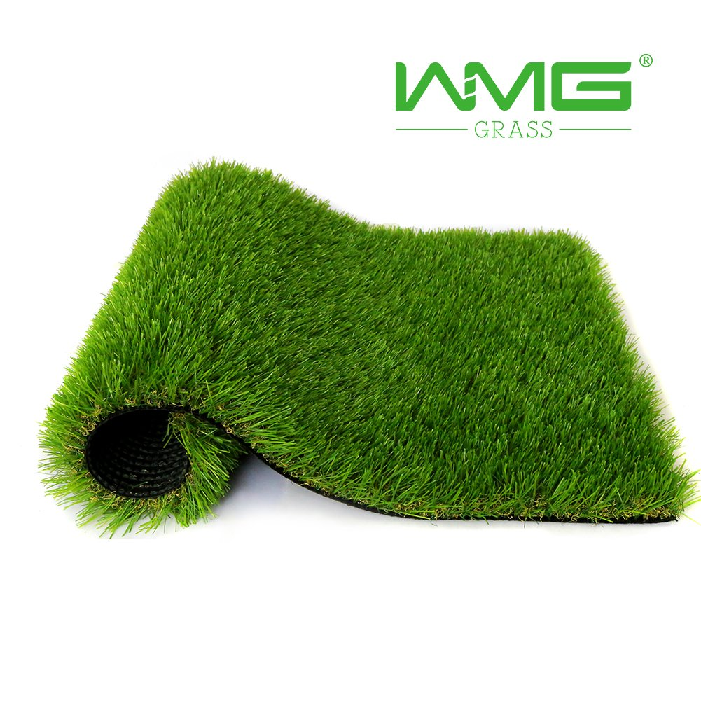 WMG Premium Artificial Grass 20''x24'' Pet Turf w/Drainage Holes & Rubber Backing Green Synthetic Pet Grass Mat Fake Grass for Training Dogs Home Indoor/Outdoor Decorations, 1 Pack