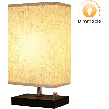 Dimmable Bedside Lamp Kingso Solid Wooden Base Plug In