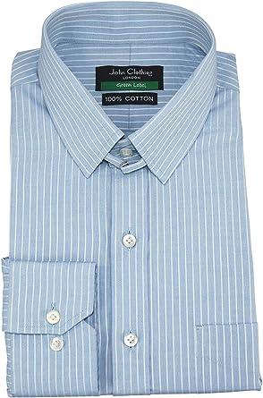 Camisa para Hombre con Cuello de Tira, Rayas Azul Cielo y Blanco, 100% algodón, Manga Larga, puño único para Hombre 200-06: Amazon.es: Ropa y accesorios