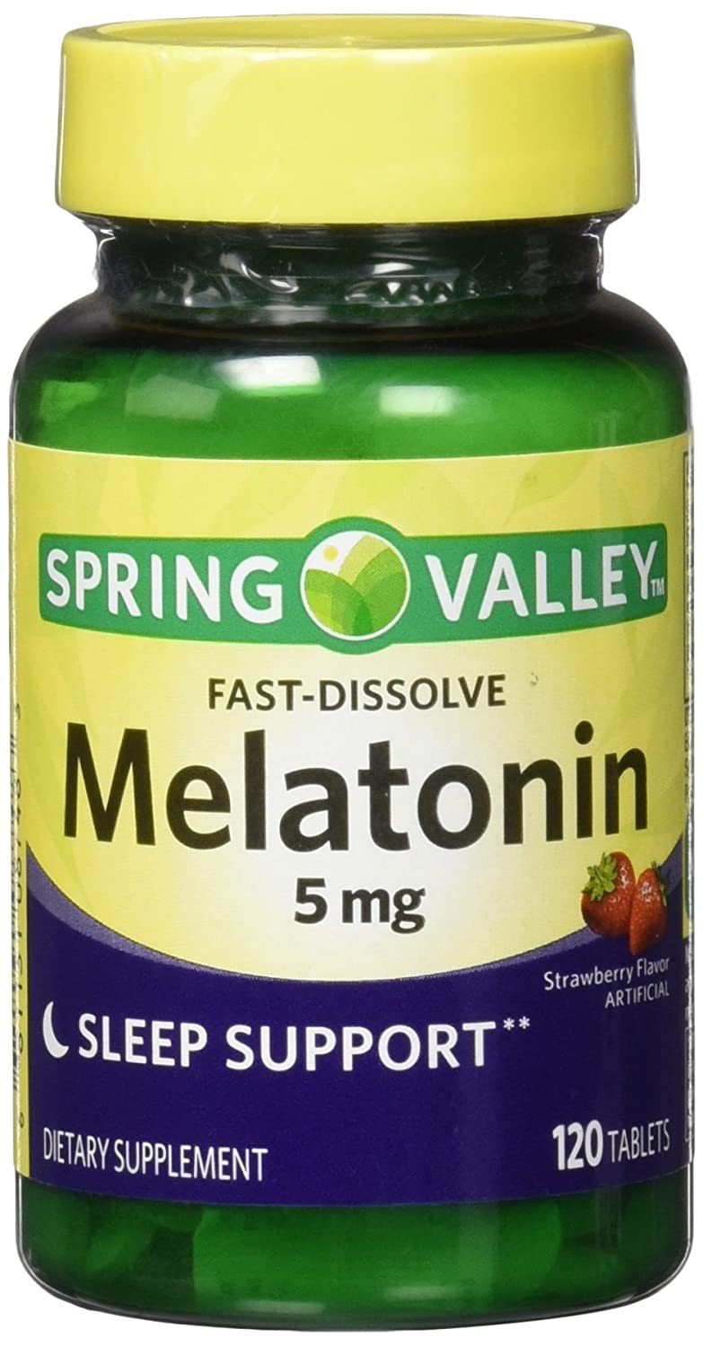 Amazon.com: Spring Valley Melatonin Strawberry Flavor Dietary Supplement Fast-Dissolve Tablets, 5mg, 120 count: Health & Personal Care