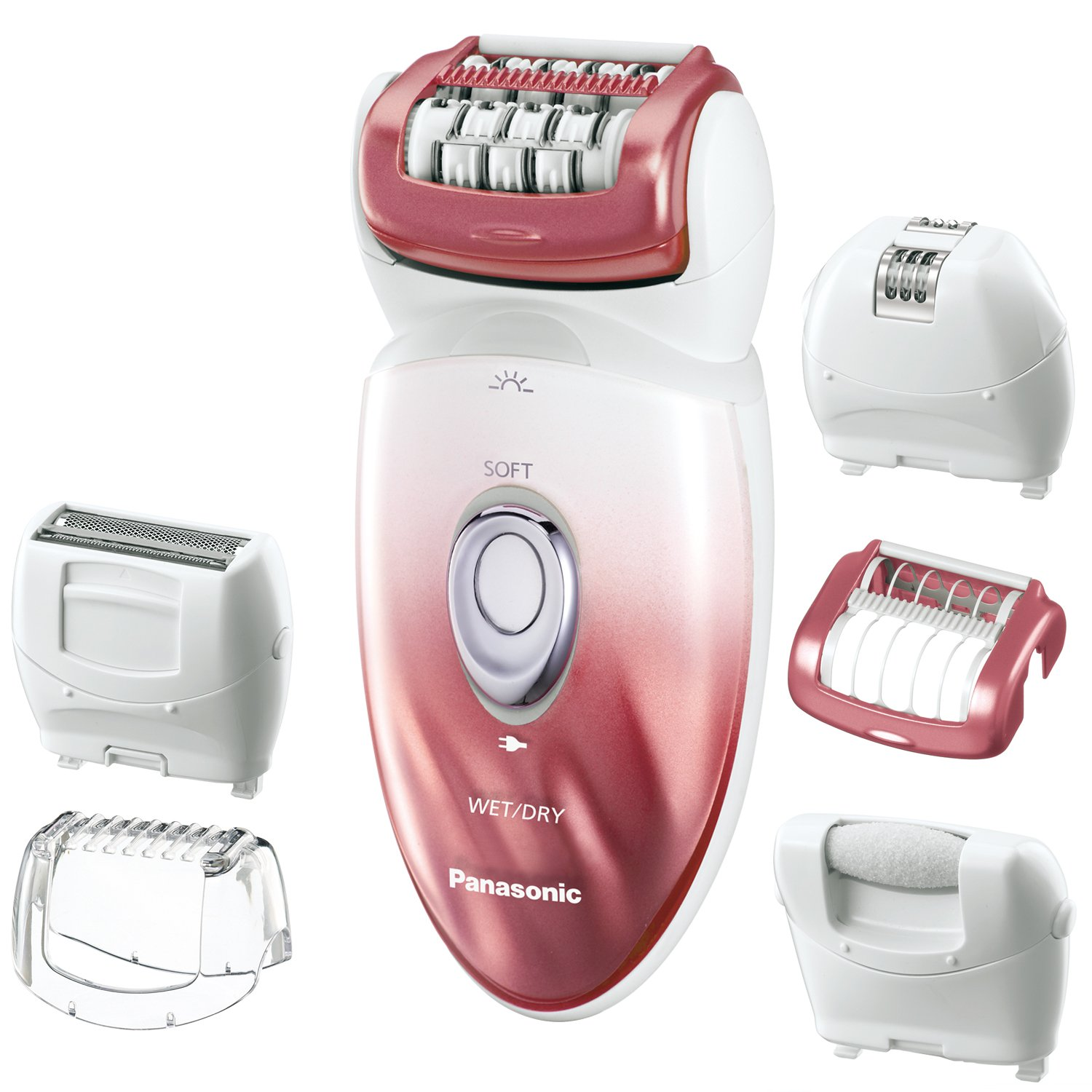 Panasonic ES-ED90-P Wet Dry Epilator and Shaver, with Six Attachments including Pedicure Buffer for Foot Care