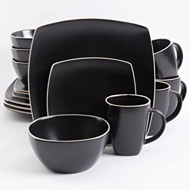 Gibson Elite Soho Lounge Matte Glaze 16 Piece Dinnerware Set in Black; Includes 4 Dinner Plates; 4 Dessert Plates, 4 Bowls and 4 Mugs