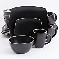 Gibson Home 102261.16RM Soho Lounge Square 16-Piece Dinnerware Set Service of 4, Stoneware, Black Matte
