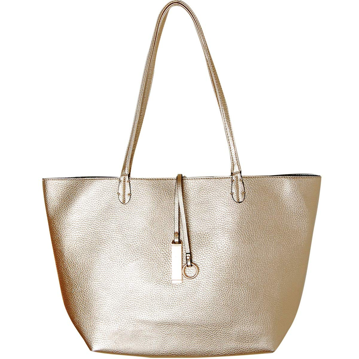 fe470126eaa8 Amazon.com  Humble Chic Reversible Vegan Leather Tote Bag - Oversized Top  Handle Large Shoulder Handbag Purse