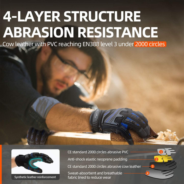 Anti-Vibration,/écran Tactile Vgo Gants de Travail m/écaniques en Cuir de Vachette pour Travail intensif 8//M,Gris,CA9730HL