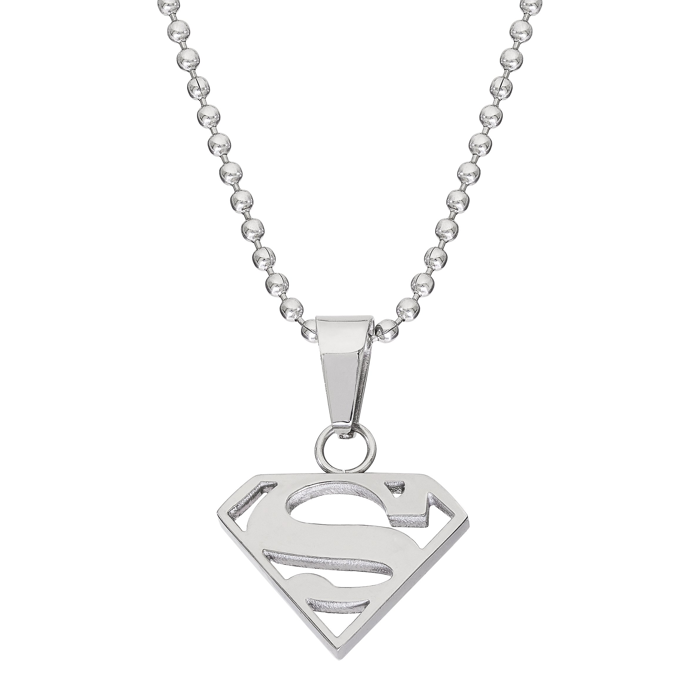 DC Comics Jewelry Superman, Stainless Steel Cutout Logo Pendant, 16'' Ball Chain by DC Comics (Image #1)