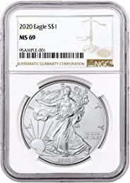 2020 - Silver Eagle Brown Label Dollar MS69 NGC