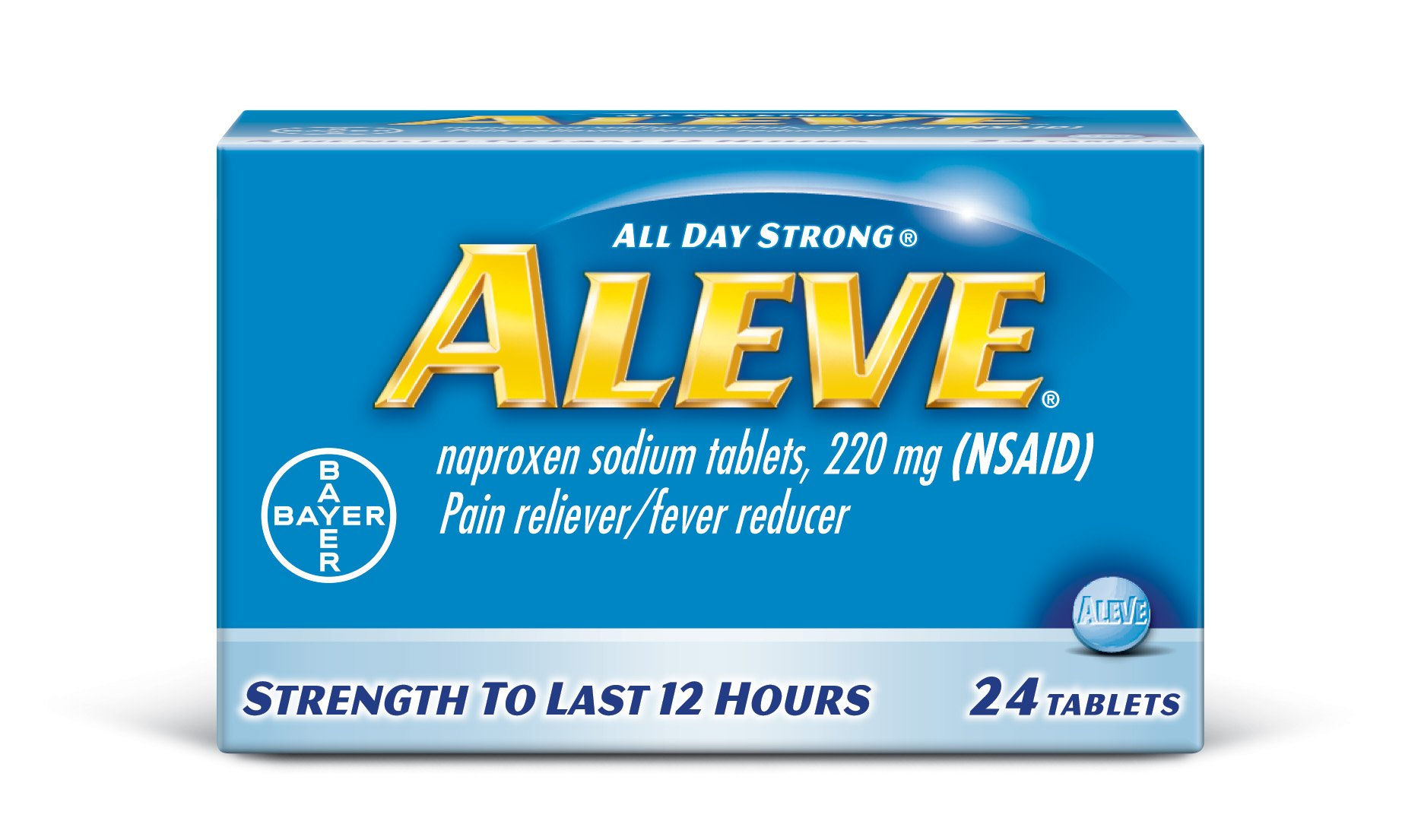 Aleve Tablets with Naproxen Sodium, 220mg (NSAID) Pain Reliever/Fever Reducer, 24 Count, Blue
