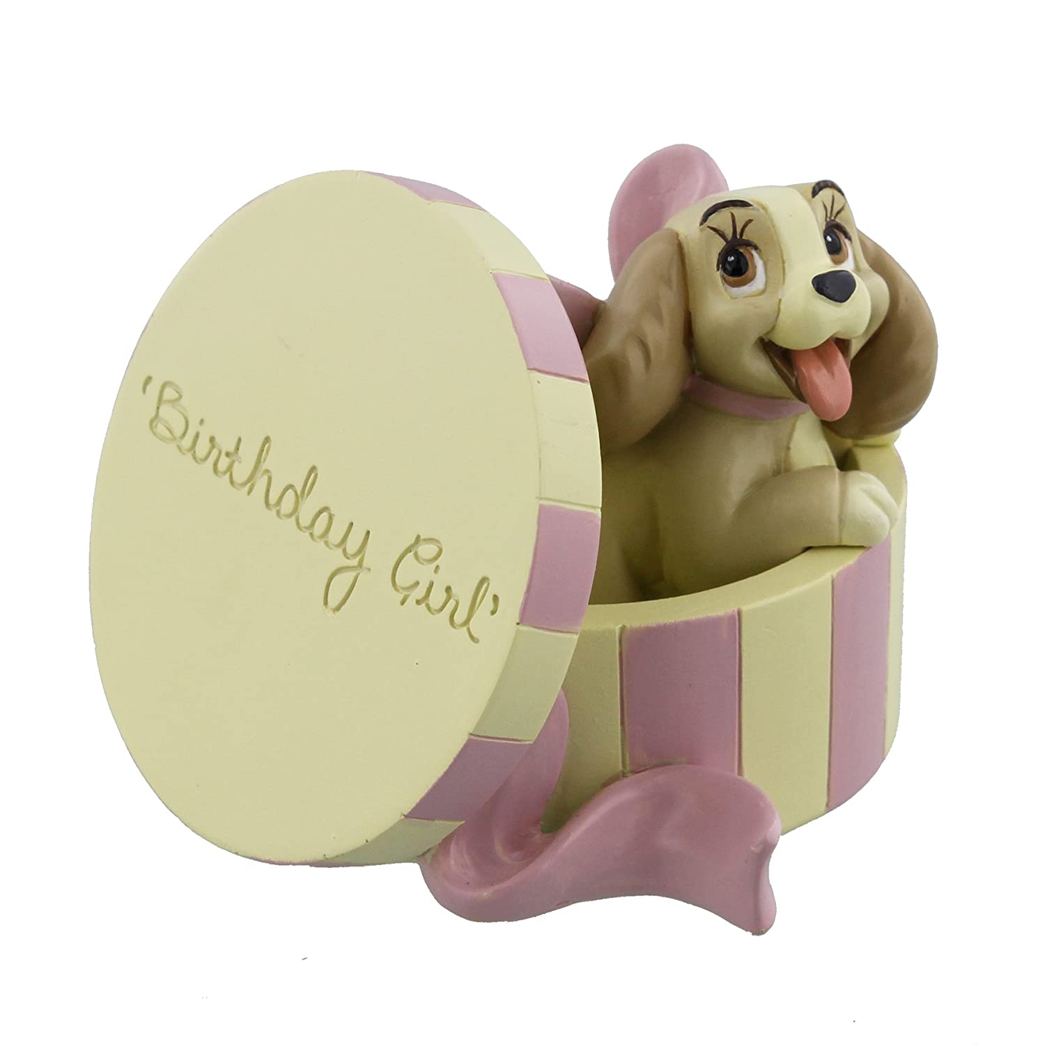 Disney Classics Lady In Hat Box Birthday Girl Figurine 8cm Boxed New - Magical Moments DI183 ukgiftstoreonline