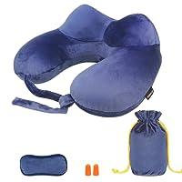 Morecoo Oreiller tour de cou gonflable, oreiller gonflable de voyage, confortable, léger et portable, pour un sommeil confortable en avion, voiture ou train.