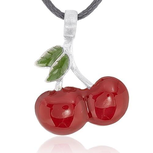 Amazon dans jewelers lucky red cherries necklace pendant fine dans jewelers lucky red cherries necklace pendant fine pewter jewelry aloadofball Gallery