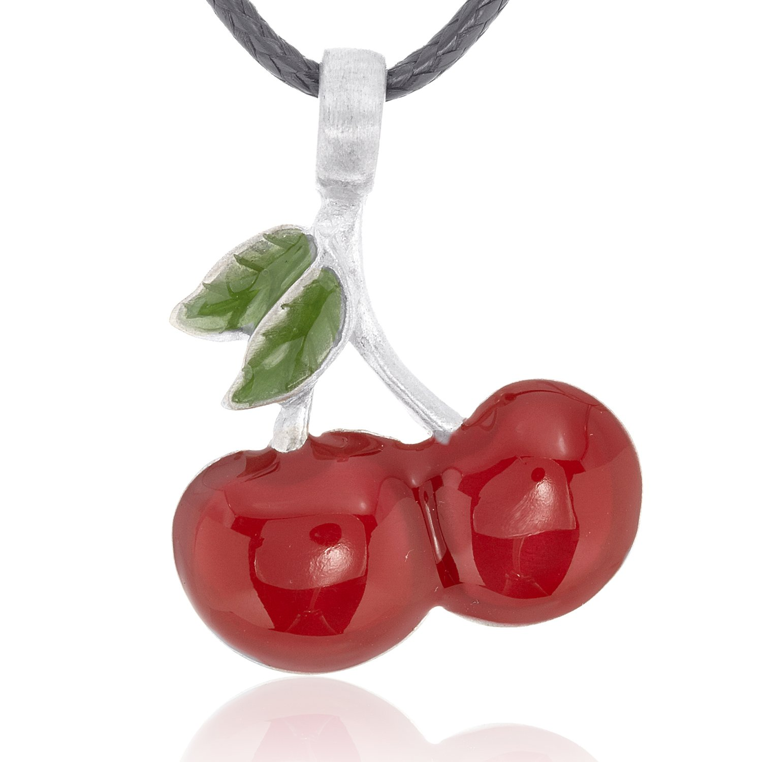 Dan's Jewelers Las Vegas Lucky Red Cherries Pendant Necklace + Silver Plated Clasp, Fine Pewter Jewelry