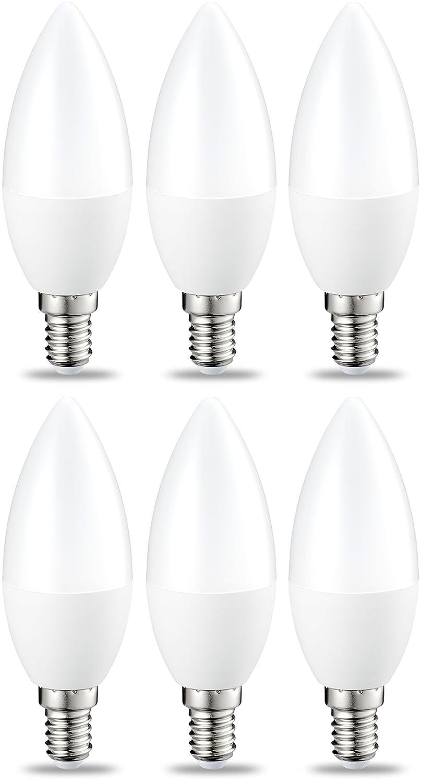 AmazonBasics Bombilla LED E14, 5.5W (equivalente a 40W), Blanco Cálido- 6 unidades: Amazon.es: Iluminación