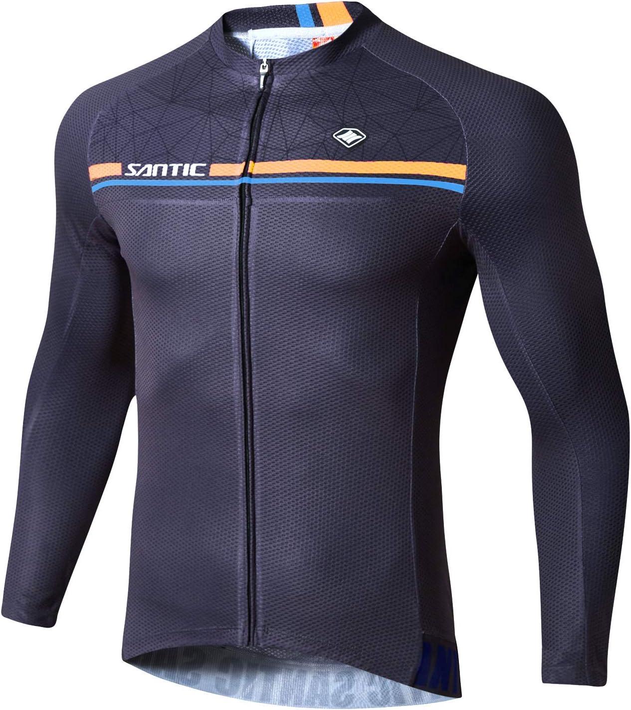 Santic Maillot Bicicleta Hombre Manga Larga MTB,Maillot Ciclismo Hombre Oto/ño//Invierno