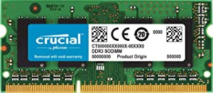 Crucial 4GB Single DDR3/DDR3L 1600 MT/s (PC3-12800) Unbuffered SODIMM 204-Pin Memory - CT51264BF160BJ,Multicolor