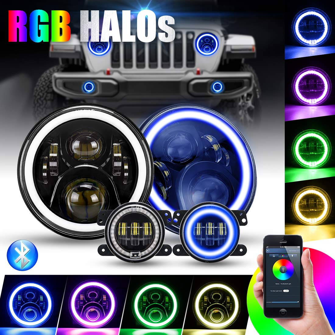 SUPAREE 7 inches RGB Headlights,7inches LED Headlamp + 4 inches RGB Fog Lights