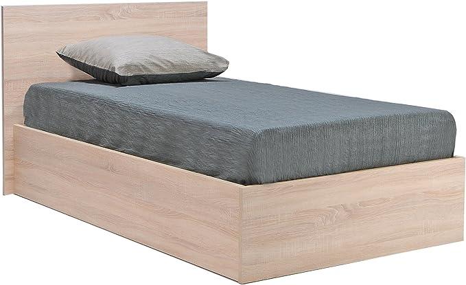 WEBER INDUSTRIES 036060 Madrid Estructura de Cama con cajón, cabecero y somier de Madera (90 x 190 cm), Madera, Roble Blanco, 90 x 190