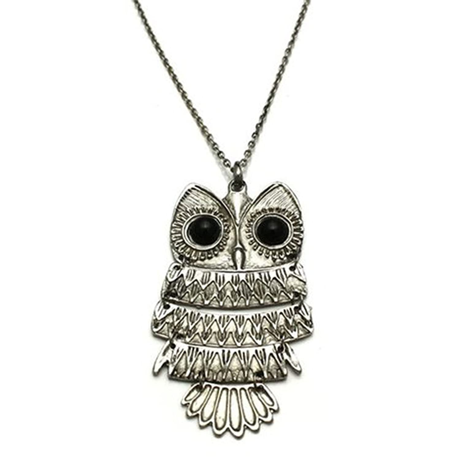 Amazon vintage large owl pendant necklace jewelry aloadofball Image collections
