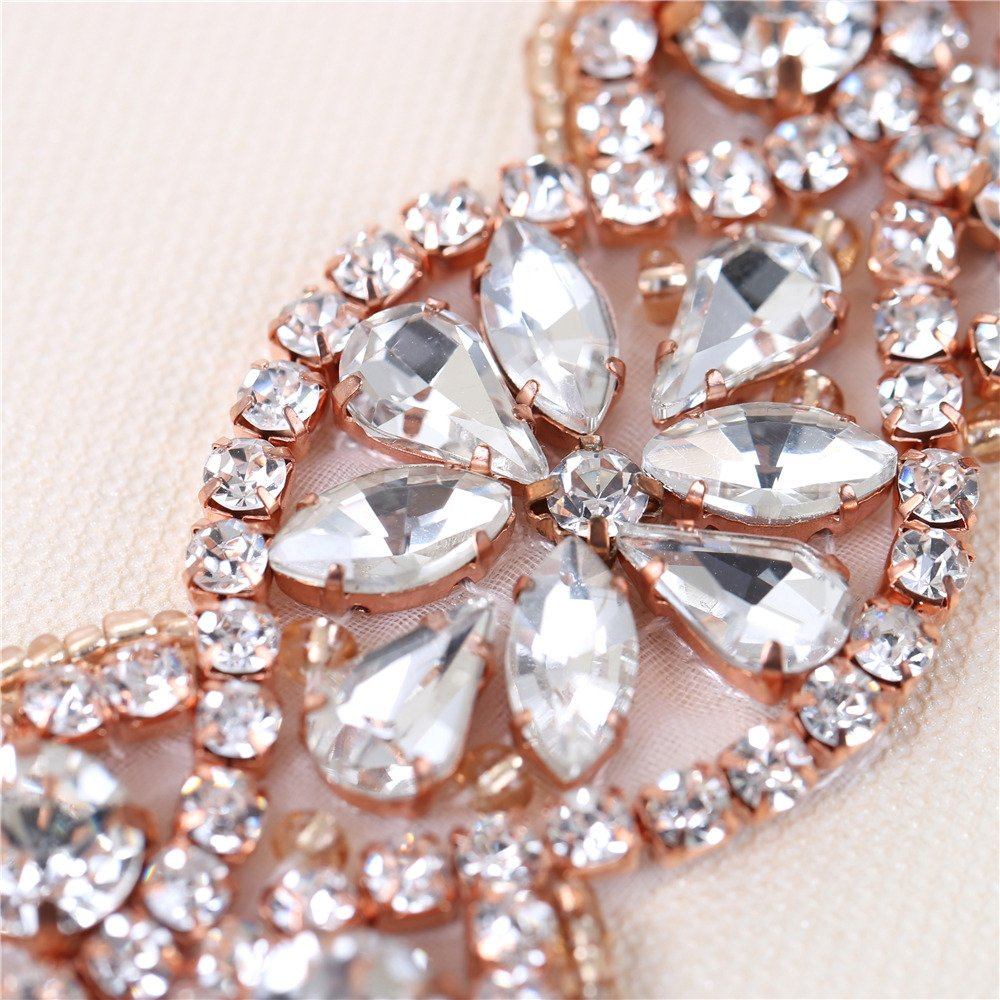 XINFANGXIU Rose Gold Bridal Rhinestone Appliques Sash Crystal Wedding Dress Belt Sew on Iron on for Formal Dress by XINFANGXIU (Image #3)