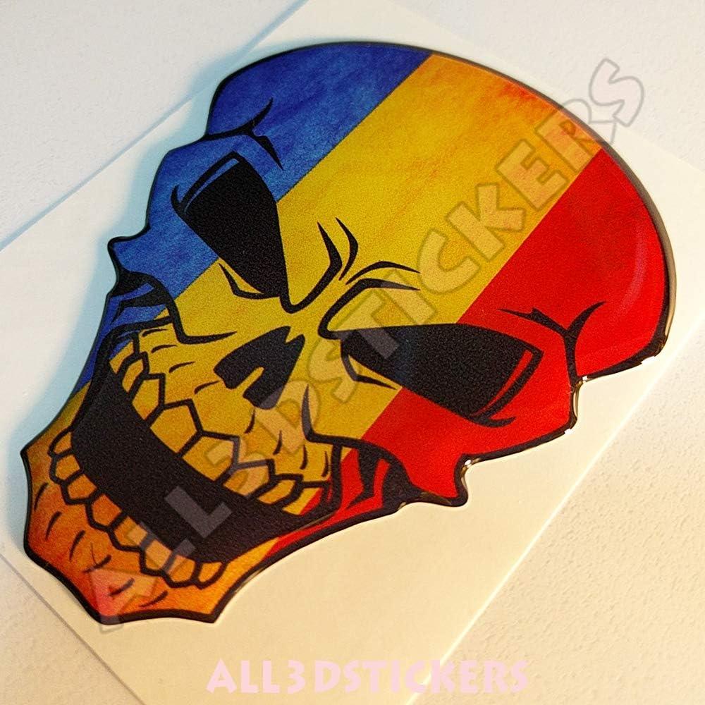 Pegatina Rumania Calavera Bandera Rumania Resina Relieve 3D Adhesivo Vinilo Skull