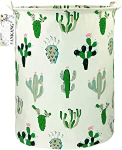 FANKANG Storage Bins Nursery Hamper Canvas Laundry Basket Foldable with Waterproof PE Coating Large Storage Baskets Gift Baskets for Kids Boys and Girls, Office, Bedroom, Clothes,Toys (Cactus)