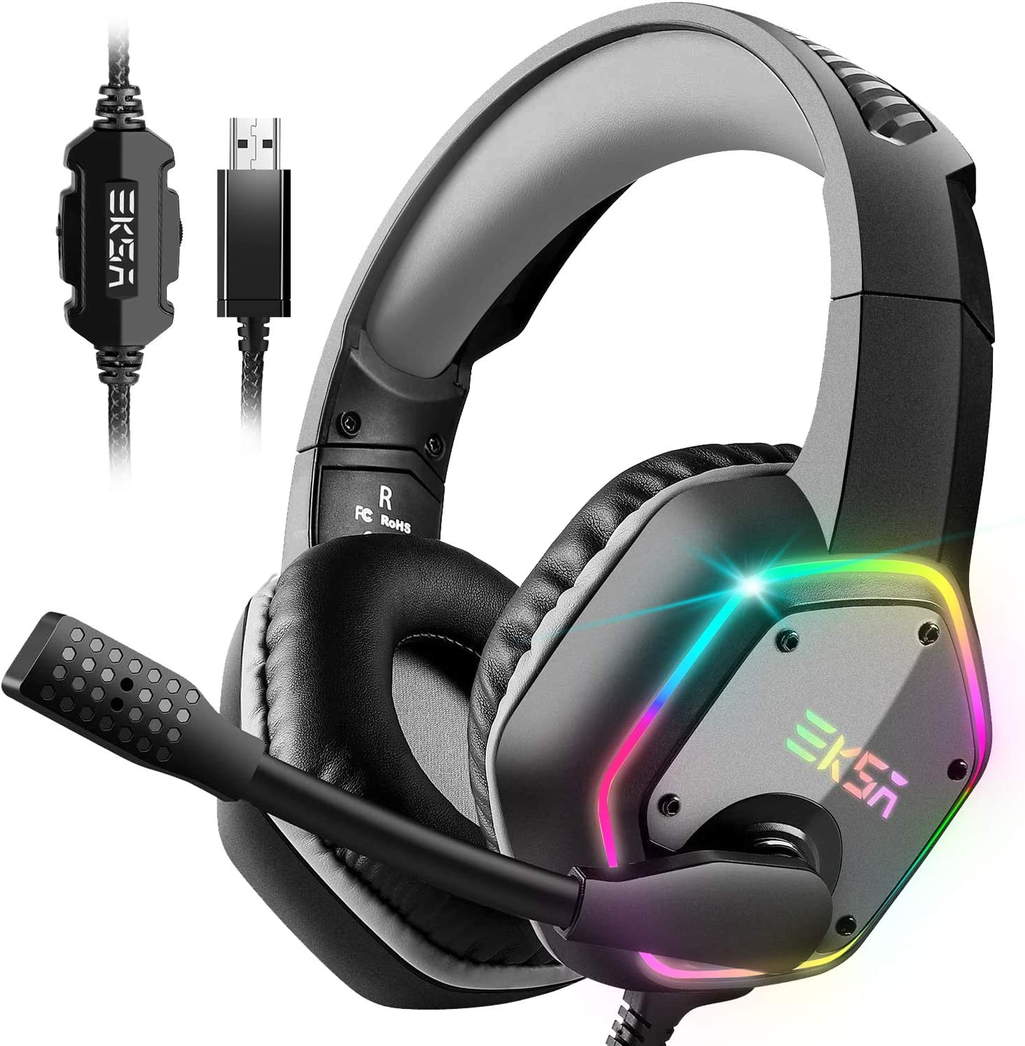 EKSA USB Gaming Headset PC Headset with 7.1 Surround Sound, Headset with Noise Cancelling Mic  WAS £32.98 NOW £19.79 w/code RVB6SCN5 @ Amazon