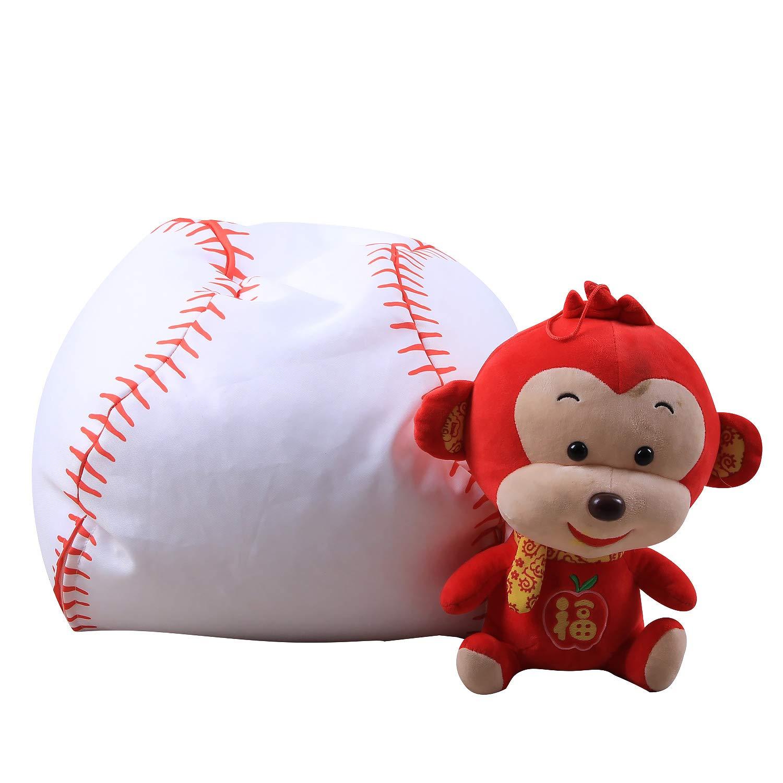 Bolsa de Almacenamiento Puf de Peluche para ni/ños 100/% algod/ón Lona 18 Pulgadas Organizador de Juguetes y c/ómodo puf Multiusos EVOIO Baseball