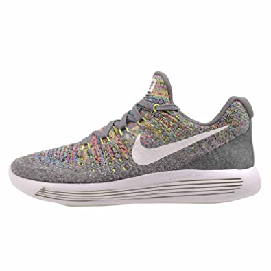 NIKE Womens Lunarepic Low Flyknit 2 Running Shoe-Cool Grey/White/Volt/Blue Glow-9