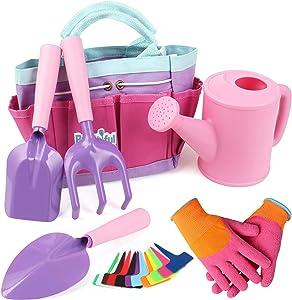 Yocharm 18 PCs Kids Gardening Set Tools Bag Watering Can Kids Gardening Gloves Trowel Rake Shovel Plant Labels Pink Kids Garden Tools for Toddler Girls