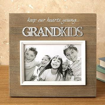 amazon com wood frame with raised metal words 6 x 4 grandkids