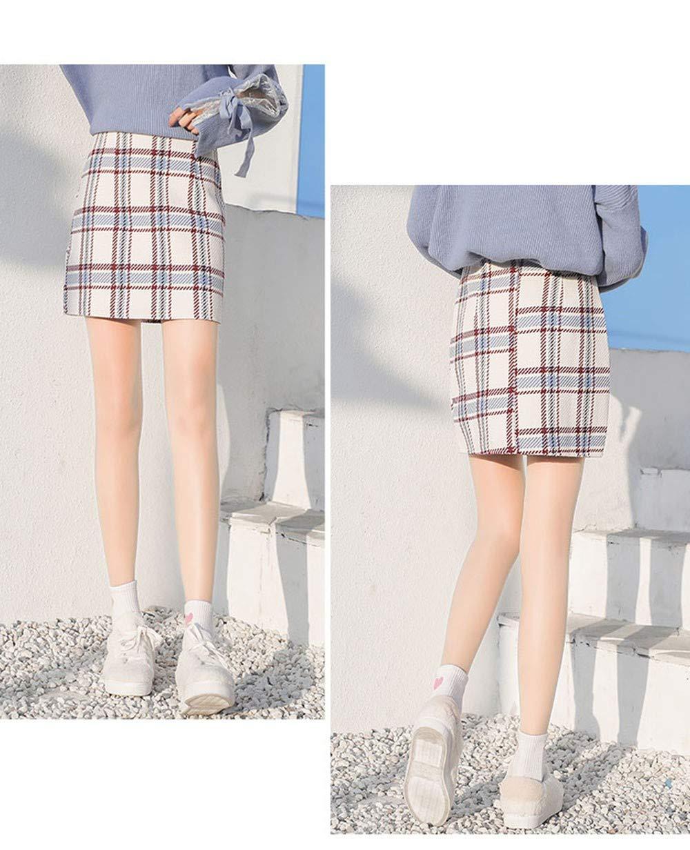 053f38364a SWOVQ Falda Lápiz Mini Falda De Cintura Alta para Mujer Otoño Invierno 3  Colores A Line Falda A Cuadros Falda Corta para Mujer