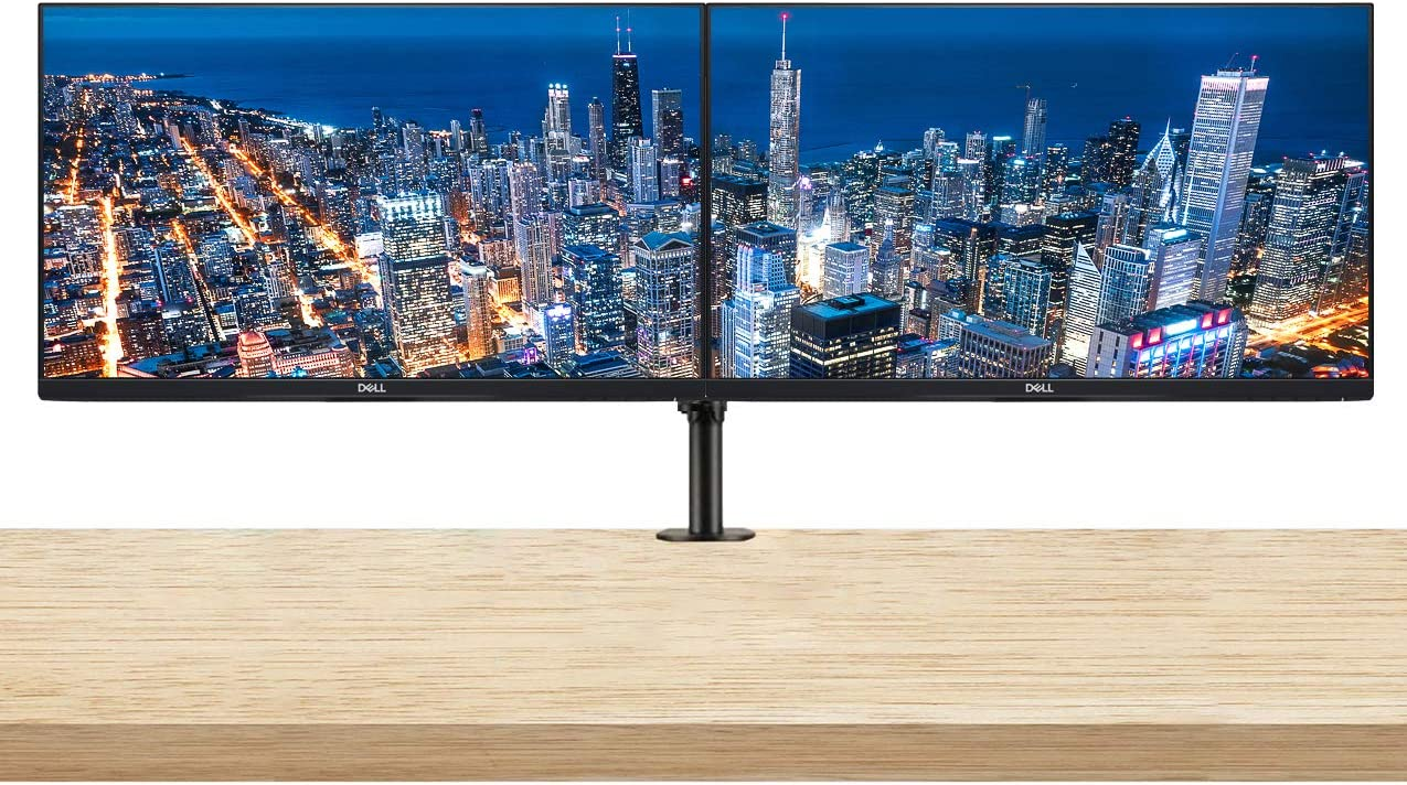 Dell P2419H 24 Inch Full HD (1920 x 1080) HDMI, VGA, DisplayPort, USB IPS LED-Backlit Monitor 2-Pack Bundle with Dual Monitor Desktop Mount Monitor Stand with Heavy Duty Adjustable Clamp