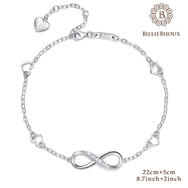 Billie Bijoux Womens 925 Sterling Silver Infinity Endless Love Symbol Charm Adjustable Anklet Bracelet, Large Bracelet, Gift for Mother's Day (A- Silver) by Billie Bijoux (Image #2)